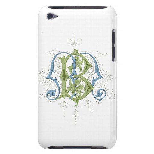 Monograma del vintage del BM o del MB en azul y ve Barely There iPod Cárcasa
