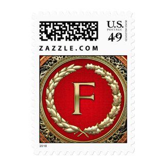 """Monograma del vintage del oro de """"F"""" Timbres Postales"""