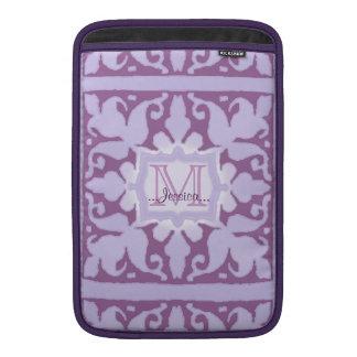 Monograma del vintage (lila) (boda) fundas para macbook air