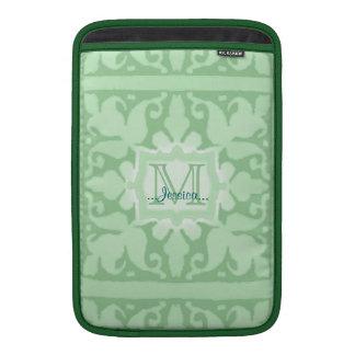Monograma del vintage (verde menta) (boda) fundas MacBook