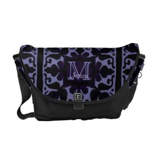 Monograma del vintage (violeta) bolsa messenger