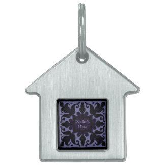 Monograma del vintage (violeta) placa mascota