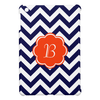 Monograma del zigzag de los azules marinos iPad mini protector