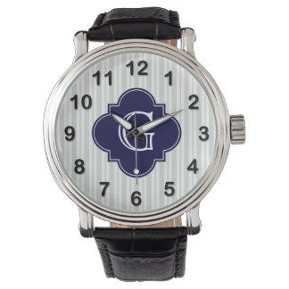 Monograma desigual blanco gris de Quatrefoil de la Reloj De Mano