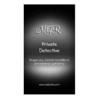 Monograma, detective privado, metal-mirada tarjetas de visita