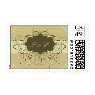 Monograma dignificado del Victorian Timbre Postal