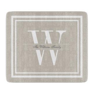 Monograma doble de lino de la frontera tabla de cortar