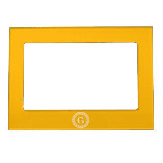 Monograma dominante griego blanco amarillo oscuro marcos magneticos para fotos