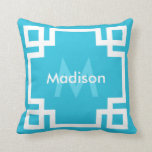 Monograma dominante griego blanco azul de la aguam almohada