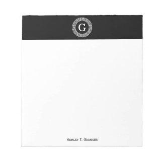 Monograma dominante griego blanco negro de la bloc de notas
