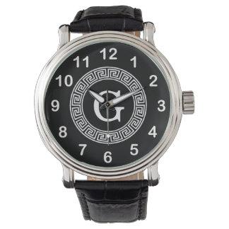 Monograma dominante griego blanco negro de la reloj de mano