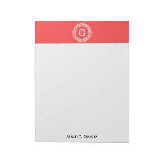 Monograma dominante griego blanco rojo coralino de bloc de notas