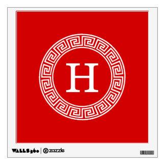 Monograma dominante griego blanco rojo de la vinilo decorativo