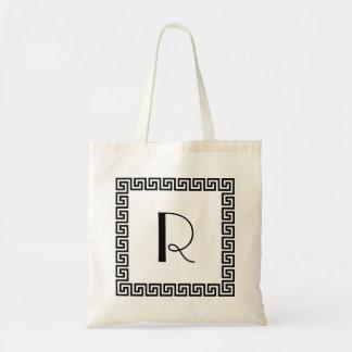 Monograma dominante griego del diseño bolsa tela barata