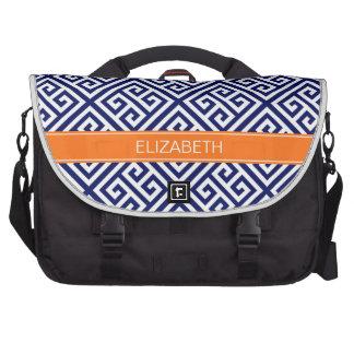 Monograma dominante griego del nombre de la bolsas para portatil