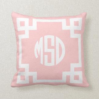 Monograma dominante griego rosa claro y blanco MSD Cojín
