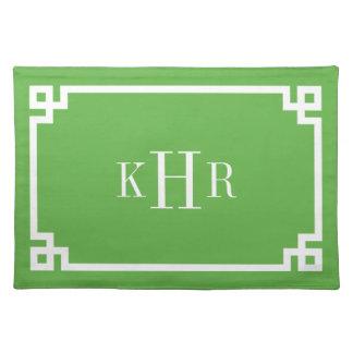 Monograma dominante griego verde del personalizado manteles