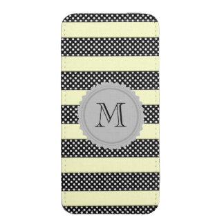 Monograma doted lindo femenino amarillo negro de funda acolchada para iPhone
