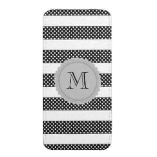 Monograma doted lindo femenino blanco negro de las funda acolchada para iPhone