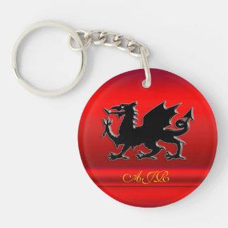 Monograma, dragón negro en metálico-efecto rojo llavero redondo acrílico a doble cara