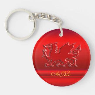 Monograma, dragón rojo en metálico-efecto rojo llaveros