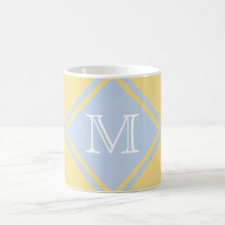 Monograma dulce de la mantequilla y de los azules taza clásica