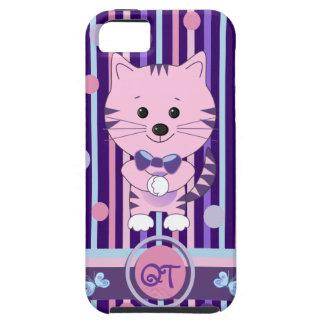 Monograma duro y gato de la casamata linda del iPhone 5 fundas