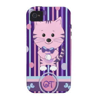Monograma duro y gato de la casamata linda del vibe iPhone 4 carcasas