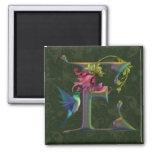 Monograma E del colibrí Imanes De Nevera