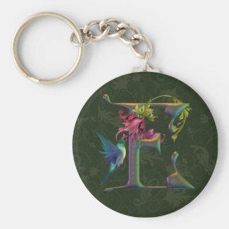 Monograma E del colibrí Llaveros Personalizados