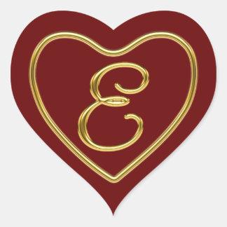 Monograma E en el oro 3D Pegatina En Forma De Corazón
