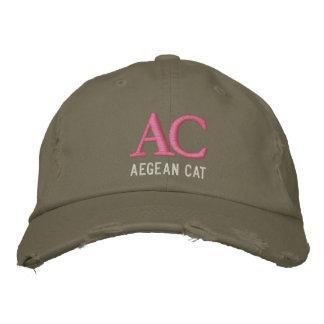 Monograma egeo del gato gorras bordadas