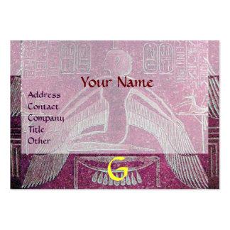 MONOGRAMA EGIPCIO de ISIS, blanco púrpura rosado Tarjetas De Visita Grandes