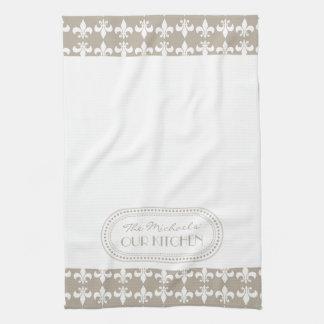 Monograma el | blanco natural del modelo de la flo toallas de mano