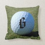 (Monograma - él) pelota de golf en la foto verde Cojín
