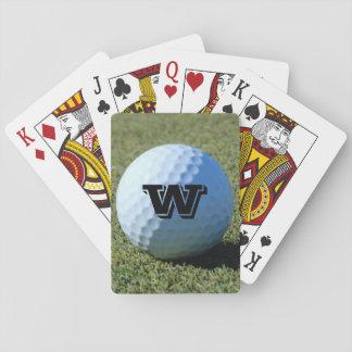 (Monograma - él) pelota de golf en la foto verde d Cartas De Póquer