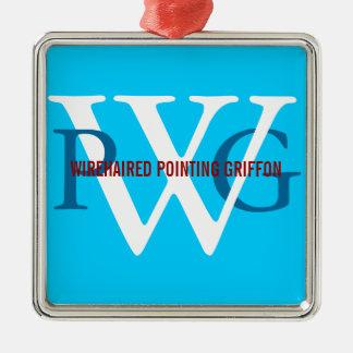 Monograma el señalar Griffon Wirehaired Adorno Navideño Cuadrado De Metal