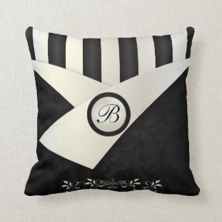 Monograma Eleganance blanco y negro Cojín Decorativo