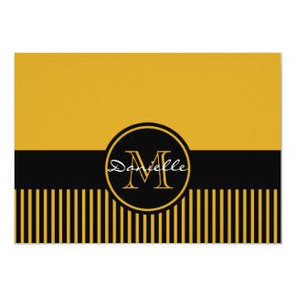 """Monograma elegante amarillo de moda del círculo de invitación 5"""" x 7"""""""
