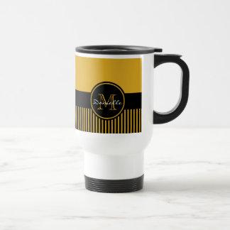 Monograma elegante amarillo de moda del círculo de taza térmica