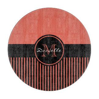 Monograma elegante anaranjado de moda del círculo tabla de cortar