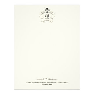 Monograma elegante blanco negro de la flor de lis membretes personalizados