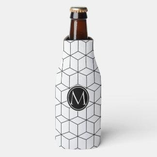 Monograma elegante blanco y negro enfriador de botellas