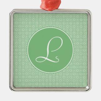 Monograma elegante de arabesco lineal color verde adorno de reyes