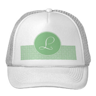 Monograma elegante de arabesco lineal color verde gorras de camionero