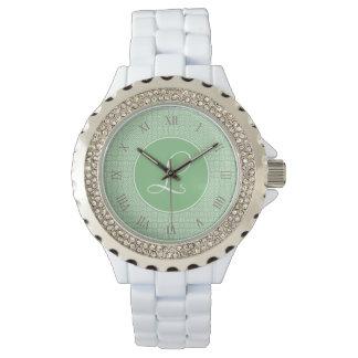 Monograma elegante de arabesco lineal color verde reloj