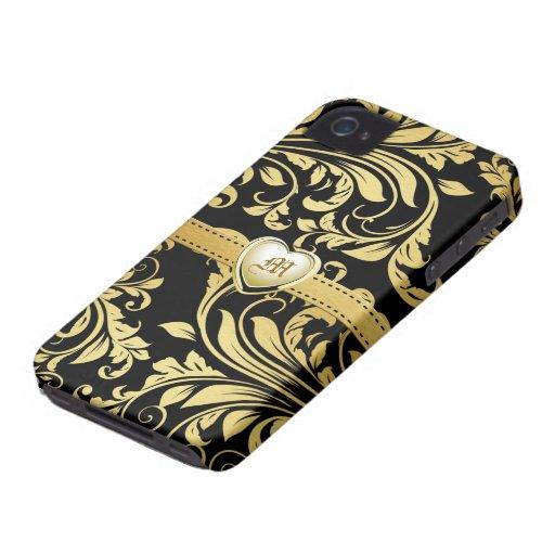 Monograma elegante de Damasked del negro y del oro iPhone 4 Case-Mate Coberturas