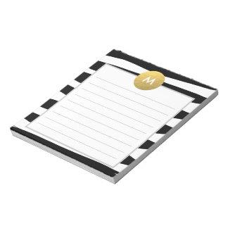 Monograma elegante de la acuarela y del oro bloc de papel
