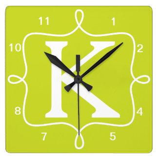 Monograma elegante de la cal reloj cuadrado