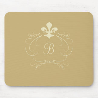 Monograma elegante de la flor de lis del oro alfombrilla de raton